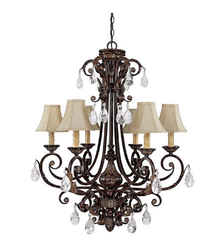 Capital Lighting Sheffield 6 Light Chandelier in Chesterfield Brown with Crystals 3686CB-413-CR photo