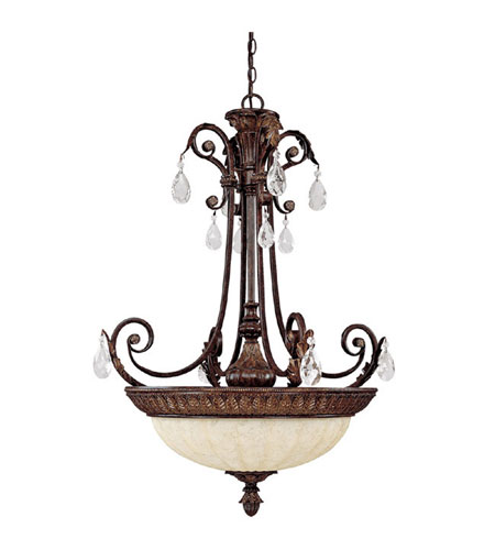 Capital Lighting Sheffield 4 Light Pendant in Chesterfield Brown with Crystals 3688CB-CR photo