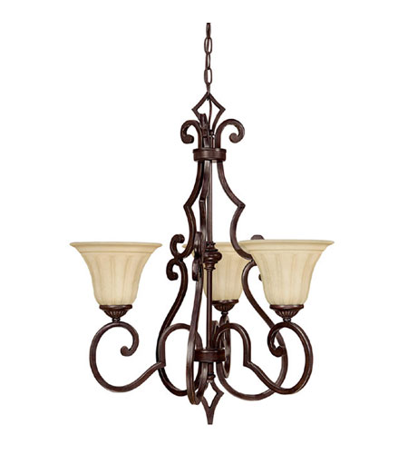 Capital Lighting Sierra 3 Light Chandelier in Mediterranean Bronze with Sienna Scavo Glass 3723MBZ-268 photo