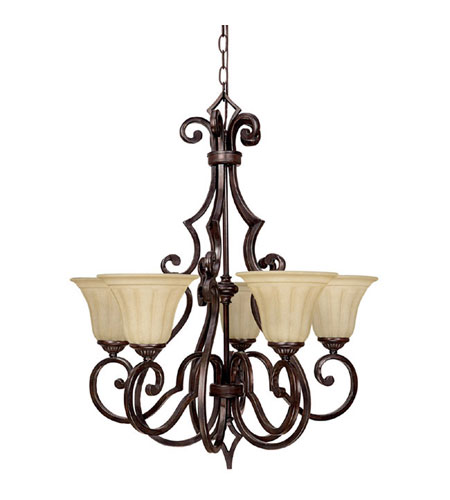 Capital Lighting Sierra 5 Light Chandelier in Mediterranean Bronze with Sienna Scavo Glass 3725MBZ-268 photo