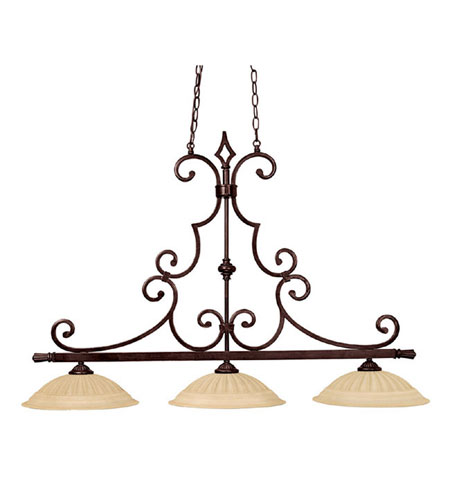 Capital Lighting Sierra 3 Light Island Light in Mediterranean Bronze with Sienna Scavo Glass 3728MBZ photo