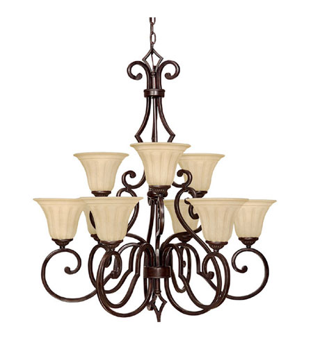 Capital Lighting Sierra 9 Light Chandelier in Mediterranean Bronze with Sienna Scavo Glass 3729MBZ-268 photo