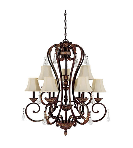 Capital Lighting Amberleigh 9 Light Chandelier in Chesterfield Brown with Crystals 3809CB-434-CR photo