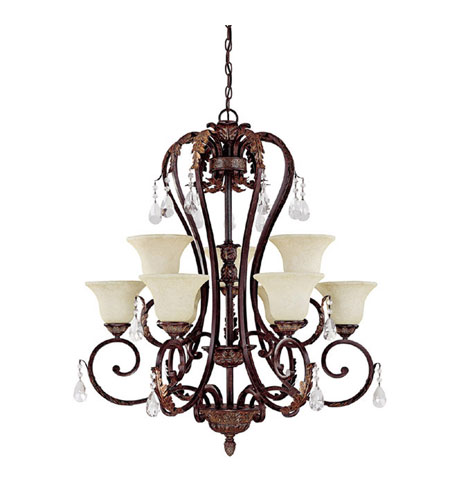 Capital Lighting Amberleigh 9 Light Chandelier in Chesterfield Brown with Crystals 3849CB-285-CR photo