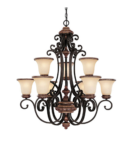Capital Lighting Foxborough 9 Light Chandelier in Iron and Umber with Mist Scavo Glass 3869IU-252R photo