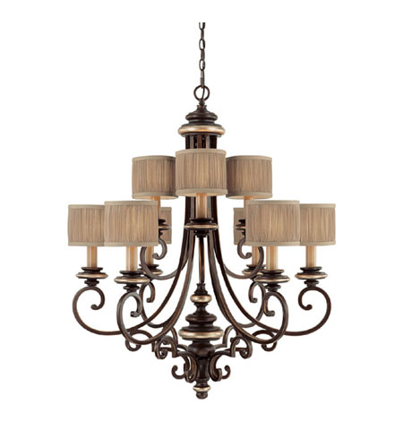 Capital Lighting Park Place 9 Light Chandelier in Champagne Bronze 3889CZ-406 photo