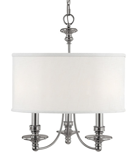 Capital Lighting 3913PN-453 Midtown 3 Light 20 inch Polished Nickel Chandelier Ceiling Light in White Fabric Shade photo