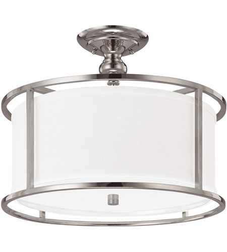 Capital Lighting Loft 3 Light Semi-Flush Mount in Polished Nickel with Frosted Diffuser Glass 3914PN-459 photo