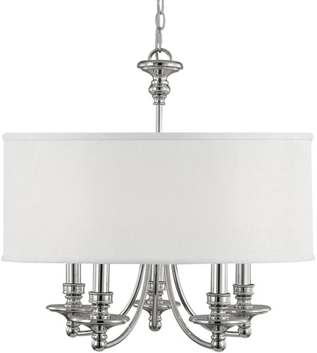 Capital Lighting 3915PN-455 Midtown 5 Light 25 inch Polished Nickel Chandelier Ceiling Light in White Fabric Shade photo