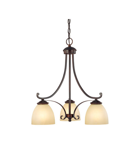 Capital Lighting Chapman 3 Light Chandelier in Burnished Bronze with Tumbleweed Glass 3943BB-201 photo