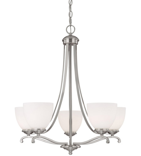 Capital Lighting Chapman 5 Light Chandelier in Matte Nickel with Soft White Glass 3945MN-202 photo