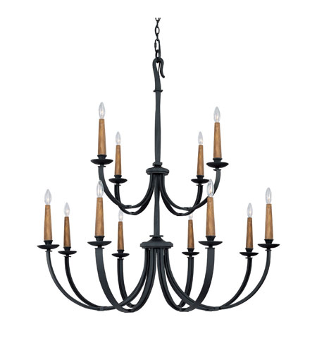 Capital Lighting 3992BI Heritage 12 Light 48 inch Black Iron Chandelier Ceiling Light photo