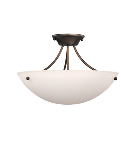 Capital Lighting Marlow 3 Light Semi-Flush Mount in Burnished Bronze with Soft White Glass 4014BB photo