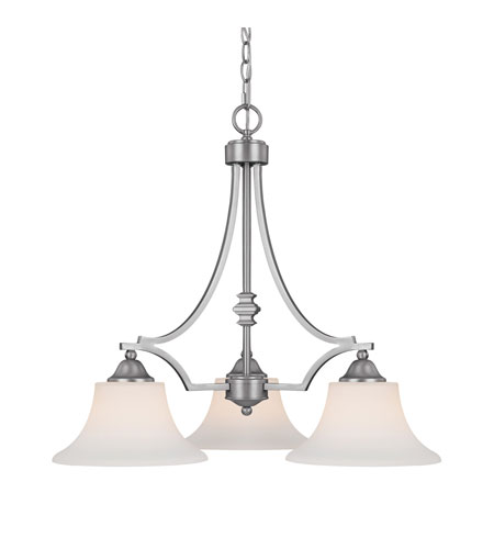 Capital Lighting Towne & Country 3 Light Chandelier in Matte Nickel with Soft White Glass 4023MN-112 photo