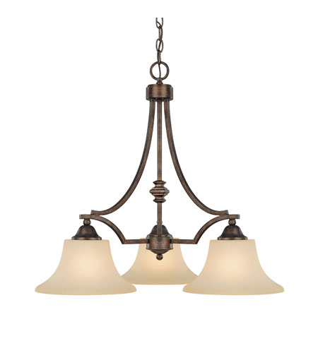 Capital Lighting Towne & Country 3 Light Chandelier in Rustic with Mist Scavo Glass 4023RT-109 photo