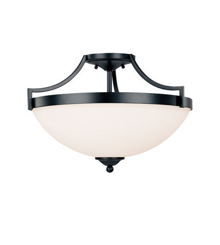 Capital Lighting Towne & Country 3 Light Semi-Flush Mount in Basic Black with Soft White Glass 4024BC photo