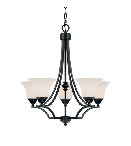 Capital Lighting Towne & Country 5 Light Chandelier in Basic Black with Soft White Glass 4025BC-114 photo