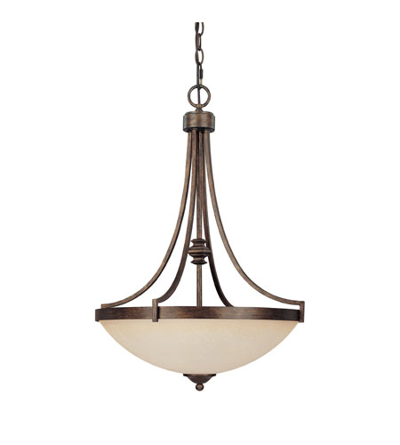 Capital Lighting Towne & Country 3 Light Pendant in Rustic with Mist Scavo Glass 4027RT-MS photo