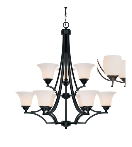 Capital Lighting Towne & Country 9 Light Chandelier in Basic Black with Soft White Glass 4029BC-114 photo