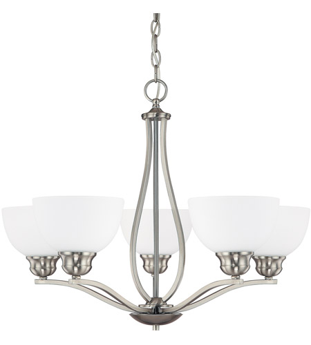 Capital Lighting Stanton 5 Light Chandelier in Brushed Nickel with Soft White Glass 4035BN-212 photo