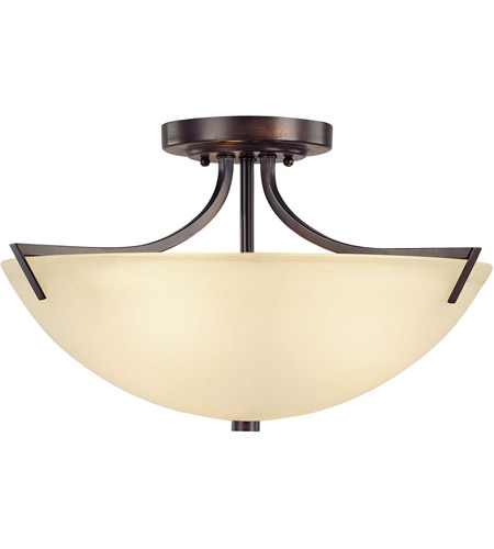Capital Lighting Stanton 3 Light Semi-Flush Mount in Burnished Bronze with Mist Scavo Glass 4037BB photo