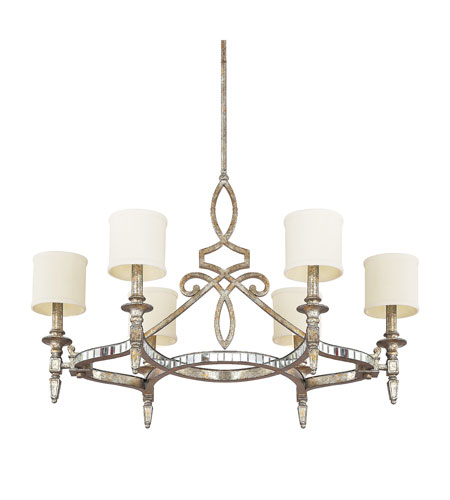 Capital Lighting Palazzo 6 Light Chandelier in Silver and Gold Leaf with Antique Mirrors 4087SG-535 photo