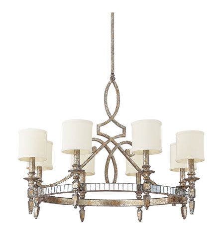 Capital Lighting Palazzo 8 Light Chandelier in Silver and Gold Leaf with Antique Mirrors 4088SG-535 photo