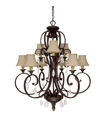 Capital Lighting Brandon Hall 9 Light Chandelier in Mediterranean Bronze with Crystals 4139MBZ-421-CR photo