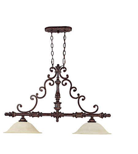 Capital Lighting Chesterfield 2 Light Island Light in Chesterfield Brown with Rust Scavo Glass 4152CB photo