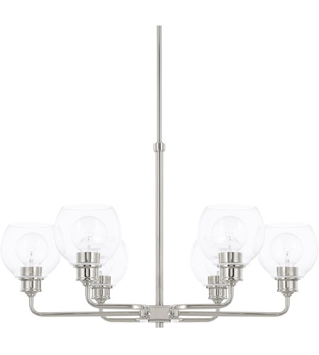 capital lighting 421161pn 426 mid century 6 light 30 inch polished