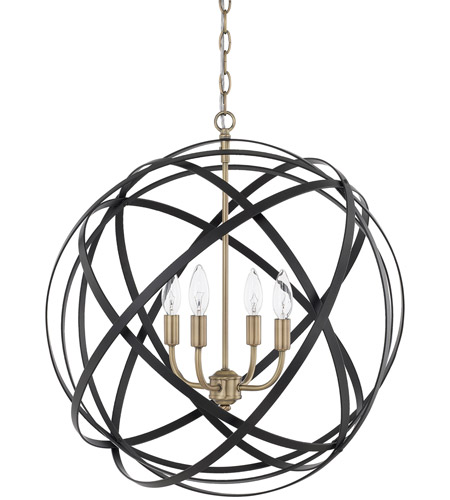 capital lighting 4234ab axis 4 light 23 inch aged brass and black pendant ceiling light - Capital Lighting