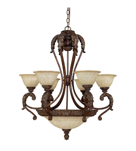 Capital Lighting Monarch 9 Light Chandelier in Gilded Bronze with Rust Scavo Glass 4313GB-260 photo