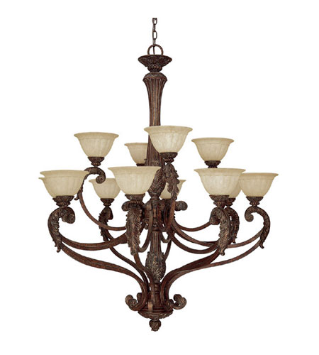 Capital Lighting Monarch 12 Light Chandelier in Gilded Bronze with Rust Scavo Glass 4322GB-260 photo