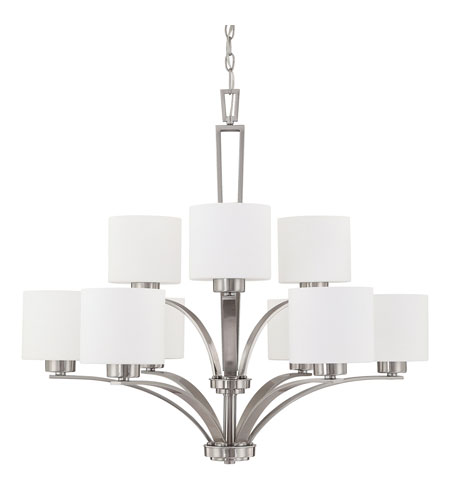 Capital Lighting Steele 9 Light Chandelier in Brushed Nickel with Soft White Glass 4349BN-103 photo