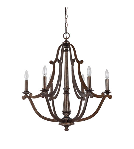 Capital Lighting Corday 6 Light Chandelier in Rustic 4366RT photo