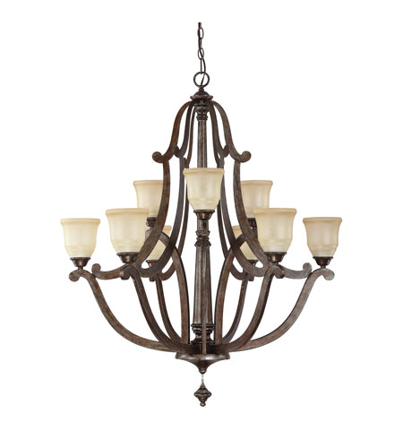 Capital Lighting Corday 9 Light Chandelier in Rustic with Candlelight Glass 4379RT-121 photo