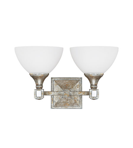 Capital Lighting Palazzo 2 Light Vanity in Silver and Gold Leaf with Antique Mirrors with Soft White Glass 8472SG-110 photo