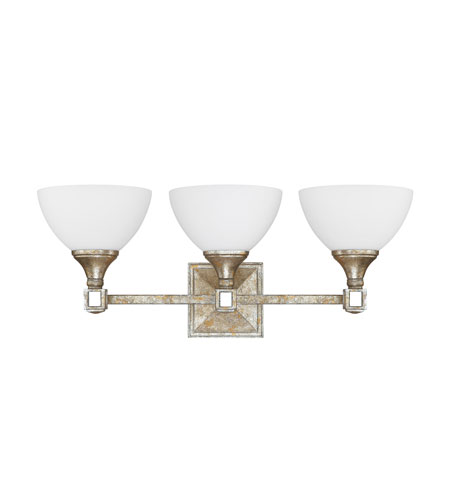 Capital Lighting Palazzo 3 Light Vanity in Silver and Gold Leaf with Antique Mirrors with Soft White Glass 8473SG-110 photo