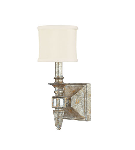 Capital Lighting Palazzo 1 Light Sconce in Silver and Gold Leaf with Antique Mirrors 8481SG-535 photo