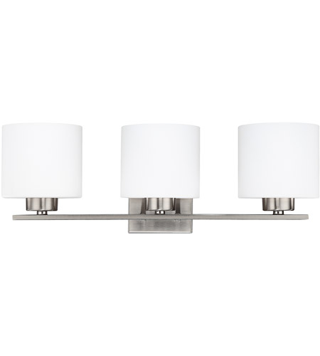 Capital Lighting Steele 3 Light Vanity in Brushed Nickel with Soft White Glass 8493BN-103 photo