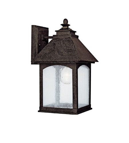 Capital Lighting Lodge 1 Light Outdoor Wall Lantern in Rustic Iron with Seeded Glass 9051RI photo