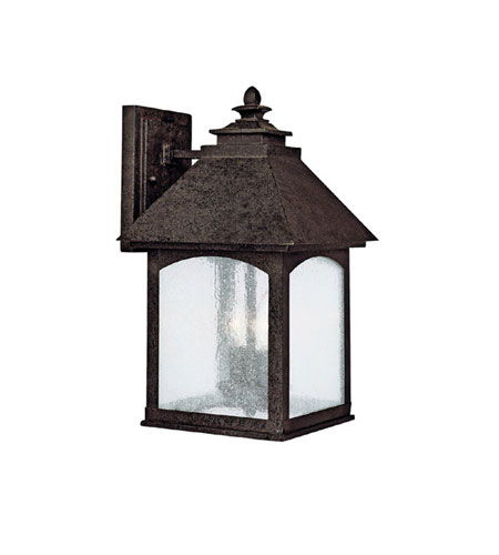 Capital Lighting Lodge 2 Light Outdoor Wall Lantern in Rustic Iron with Seeded Glass 9052RI photo