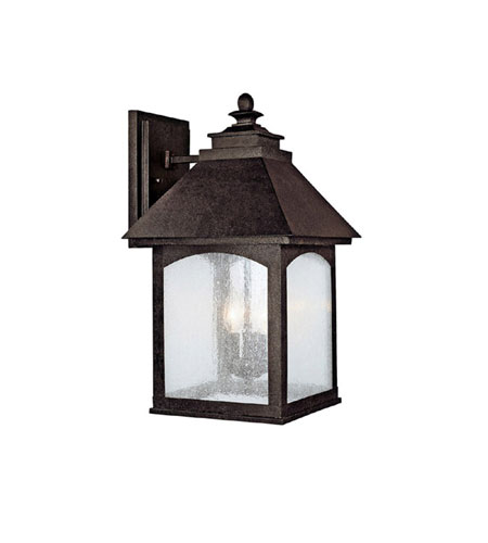 Capital Lighting Lodge 3 Light Outdoor Wall Lantern in Rustic Iron with Seeded Glass 9053RI photo