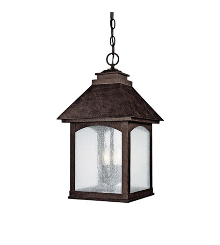 Capital Lighting Lodge 3 Light Outdoor Hanging Lantern in Rustic Iron with Seeded Glass 9057RI photo