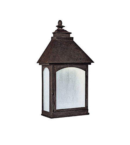 Capital Lighting Lodge 1 Light Dark Sky/Energy Saver Outdoor Wall Lantern in Rustic Iron with Frosted Seeded Glass 9059RI-GD photo