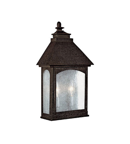 Capital Lighting Lodge 2 Light Outdoor Wall Lantern in Rustic Iron with Seeded Glass 9059RI photo