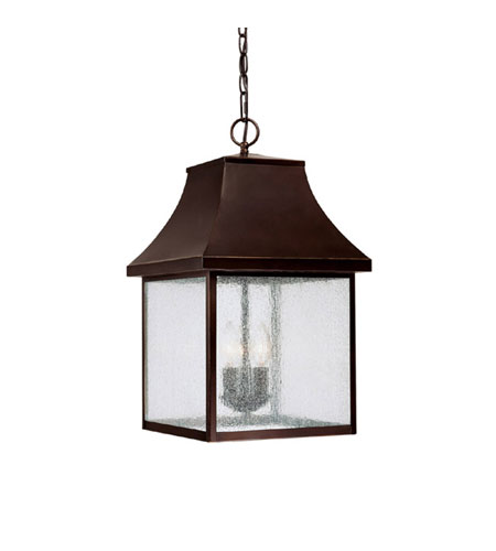 Capital Lighting Collins Hill 3 Light Outdoor Hanging Lantern in New Bronze with Seeded Glass 9067NB photo