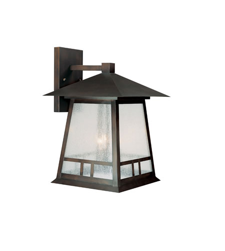 Capital Lighting Timber Ridge 3 Light Outdoor Wall Lantern in Burnished Bronze with Seeded Glass 9073BB photo
