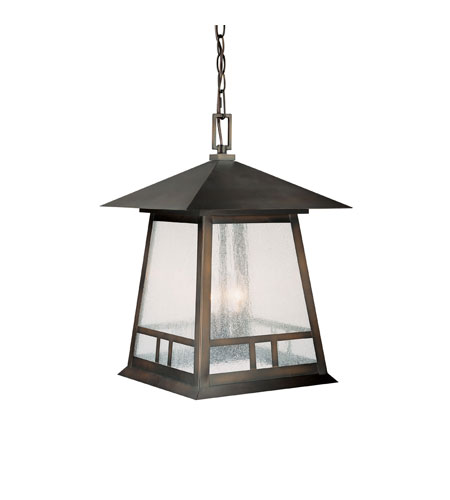 Capital Lighting Timber Ridge 3 Light Outdoor Hanging Lantern in Burnished Bronze with Seeded Glass 9076BB photo