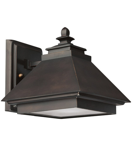 Capital Lighting Signature 1 Light Outdoor Wall Lantern in Burnished Bronze with Acid-Washed Glass Lens 9091BB photo
